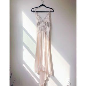 Blush Silk Waterfall Slip Dress